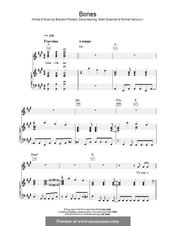 Bones (The Killers): Для голоса и фортепиано или гитары by Brandon Flowers, Dave Keuning, Mark Stoermer, Ronnie Vannucci