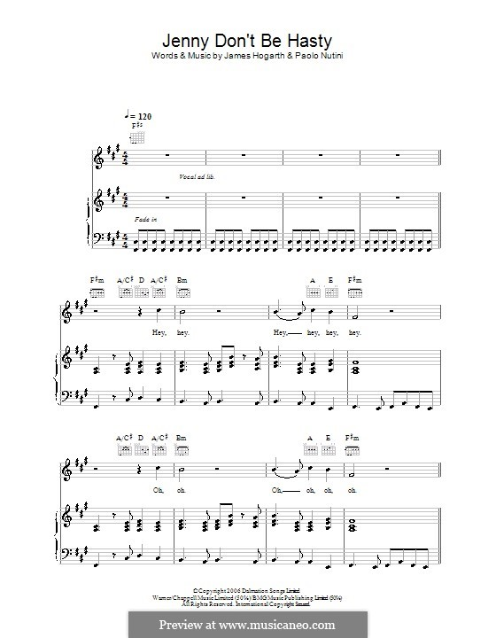 Jenny Don't Be Hasty: Для голоса и фортепиано (или гитары) by Jimmy Hogarth, Paolo Nutini