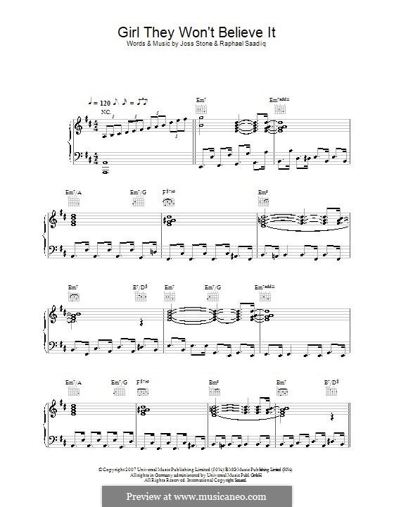 Girl They Won't Believe It (Joss Stone): Для голоса и фортепиано (или гитары) by Raphael Saadiq