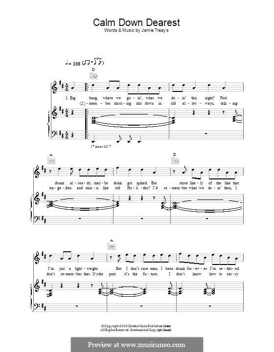 Calm Down Dearest: Для голоса и фортепиано (или гитары) by Jamie Treays