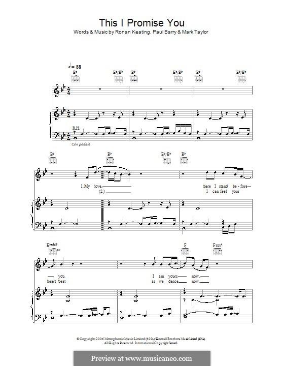 This I Promise You (Ronan Keating): Для голоса и фортепиано (или гитары) by Mark Taylor, Paul Barry
