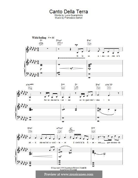 Canto della terra: Для голоса и фортепиано или гитары (Katherine Jenkins) by Francesco Sartori
