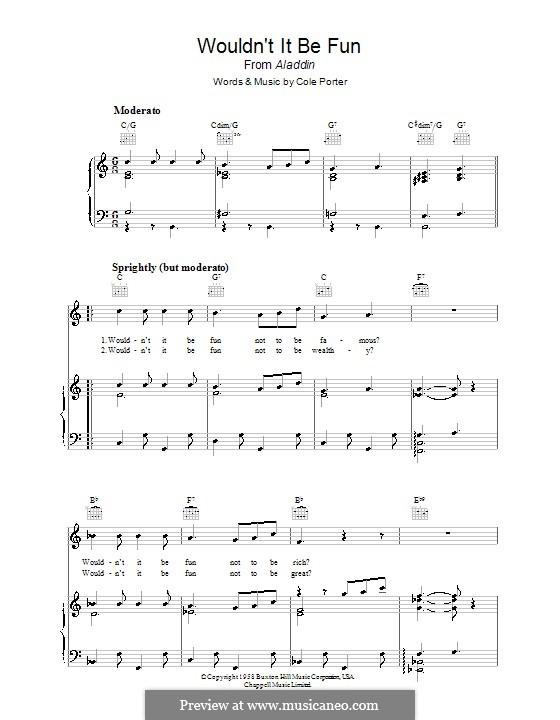 Wouldn't It Be Fun?: Для голоса и фортепиано (или гитары) by Кол Портер