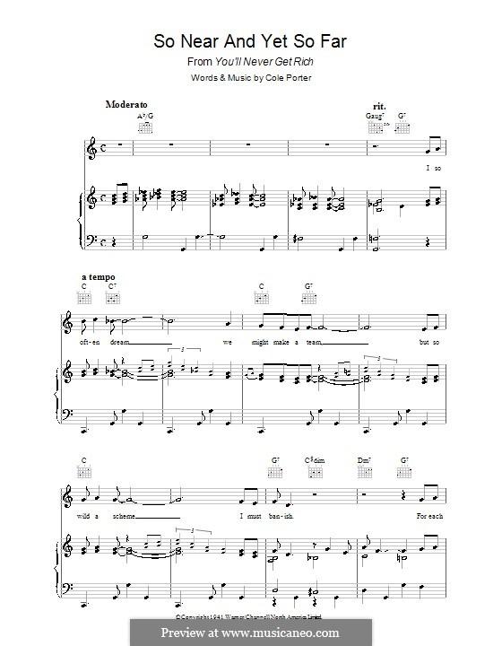 So Near and Yet So Far: Для голоса и фортепиано (или гитары) by Кол Портер