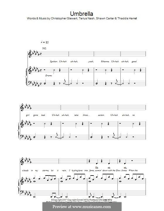 Umbrella (Rihanna featuring Jay-Z): Для голоса и фортепиано (или гитары) by Tricky Stewart , Jay-Z, Terius Nash, Kuk Harrell