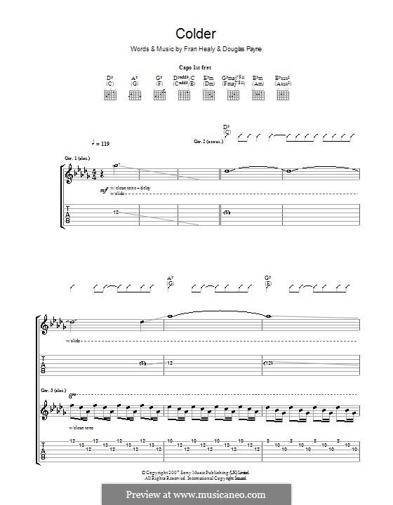 Colder (Travis): Гитарная табулатура by Douglas Payne, Fran Healy