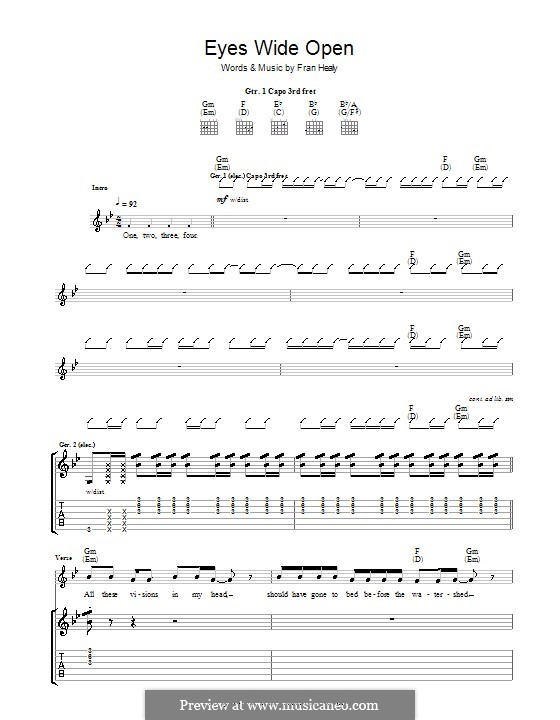 Eyes Wide Open (Travis): Гитарная табулатура by Fran Healy