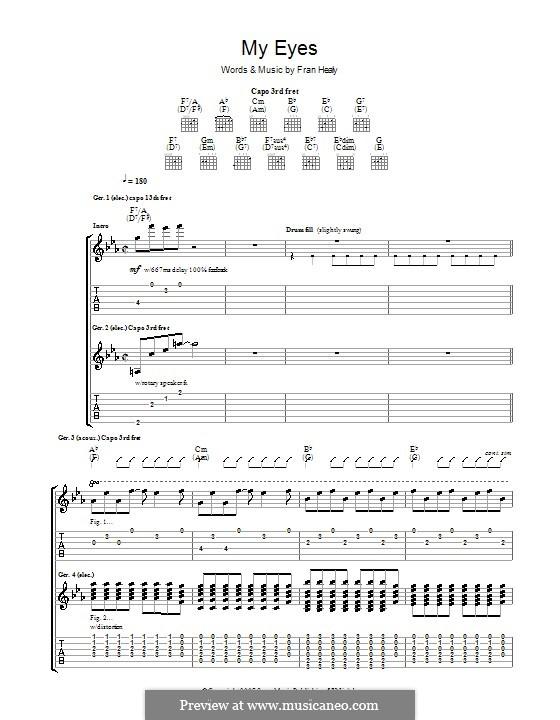 My Eyes (Travis): Гитарная табулатура by Fran Healy