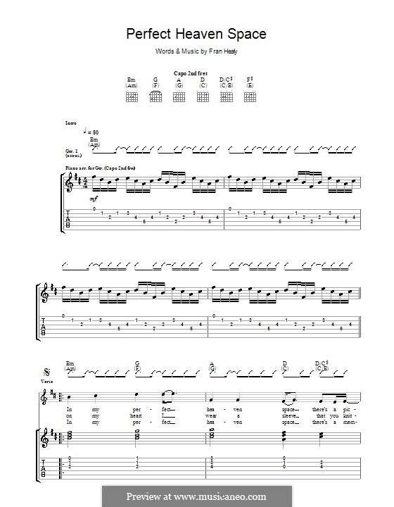 Perfect Heaven Space (Travis): Гитарная табулатура by Fran Healy