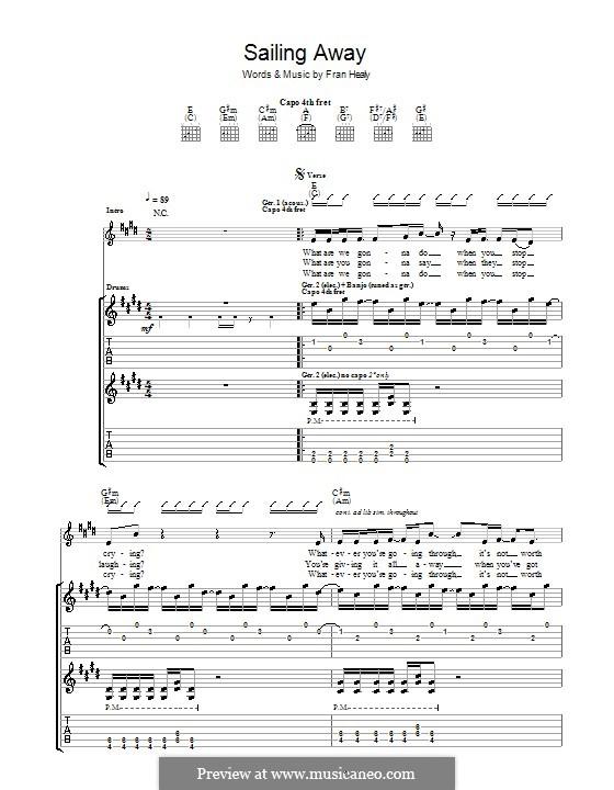 Sailing Away (Travis): Гитарная табулатура by Fran Healy