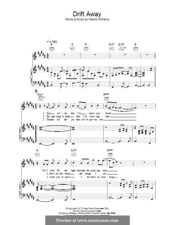 Drift Away (Dobie Gray): Для голоса и фортепиано (или гитары) by Mentor Williams