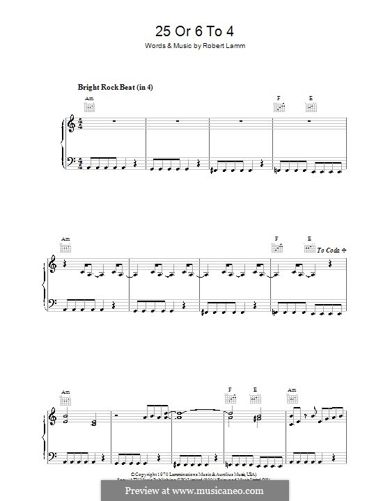 25 or 6 to 4 (Chicago): Для голоса и фортепиано (или гитары) by Robert Lamm