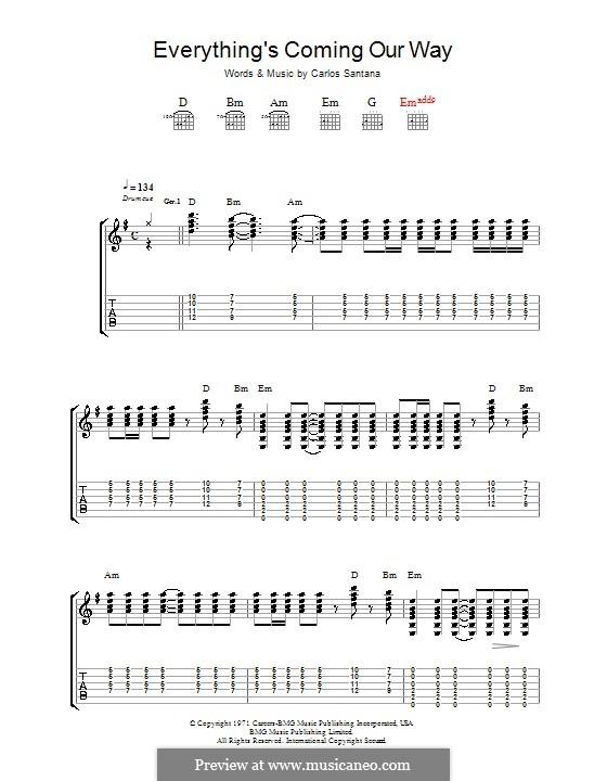 Everything's Coming Our Way (Santana): Для гитары с табулатурой by Carlos Santana