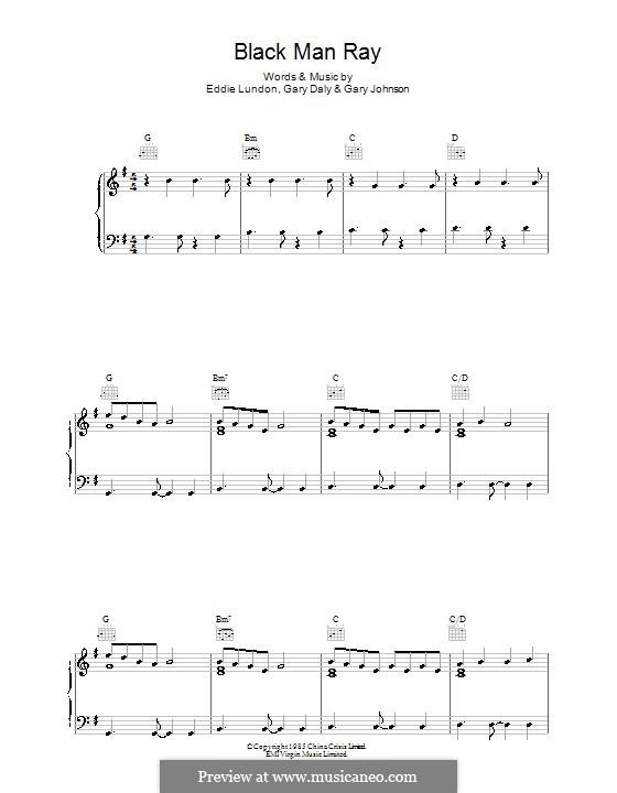 Black Man Ray (China Crisis): Для голоса и фортепиано (или гитары) by Eddie Lundon, Garry Johnson, Gary Daly