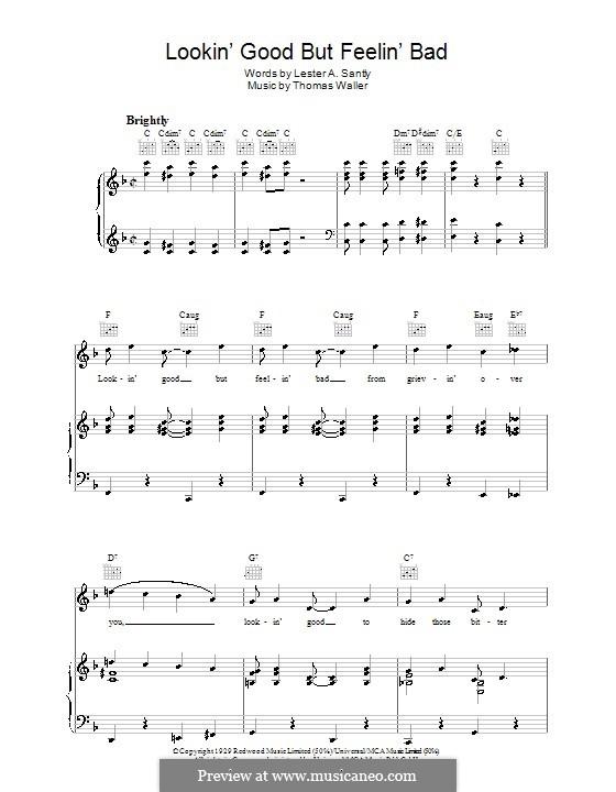 Lookin' Good But Feelin' Bad: Для голоса и фортепиано (или гитары) by Fats Waller