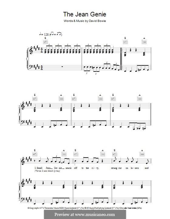 The Jean Genie: Для голоса и фортепиано (или гитары) by David Bowie