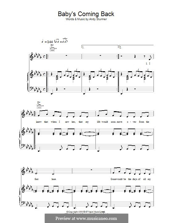 Baby's Coming Back (McFly): Для голоса и фортепиано (или гитары) by Andy Sturmer