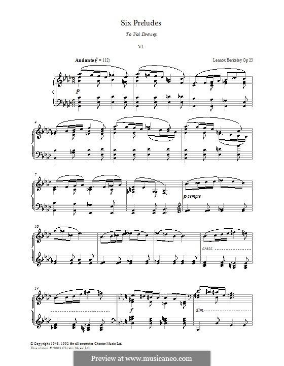 Шесть прелюдий: Прелюдия No.6 by Lennox Berkeley