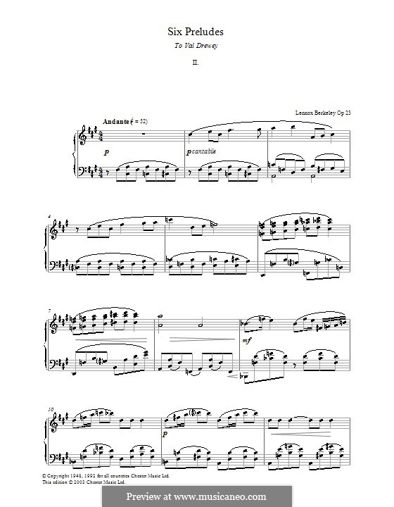 Шесть прелюдий: Прелюдия No.2 by Lennox Berkeley