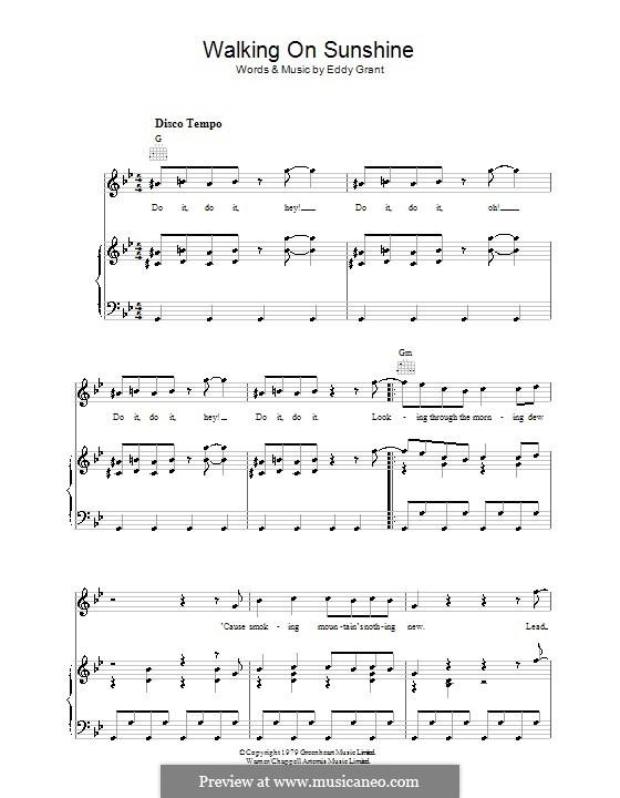 Walking on Sunshine: Для голоса и фортепиано (или гитары) by Eddy Grant