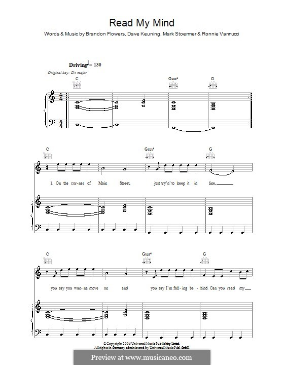 Read My Mind (The Killers): Для голоса и фортепиано или гитары by Brandon Flowers, Dave Keuning, Mark Stoermer, Ronnie Vannucci