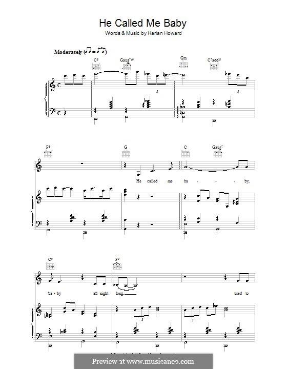 He Called Me Baby (Patsy Cline): Для голоса и фортепиано (или гитары) by Harlan Howard