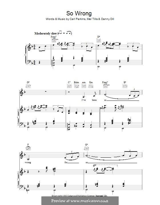 So Wrong (Patsy Cline): Для голоса и фортепиано (или гитары) by Carl Lee Perkins