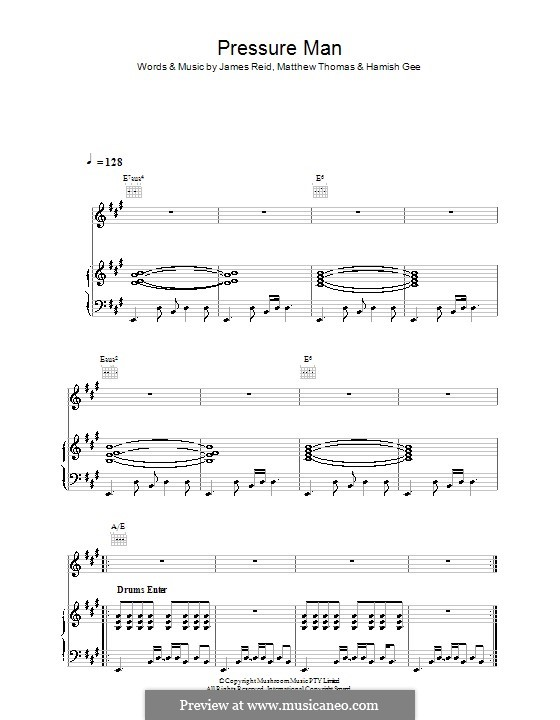 Pressure Man (The Feelers): Для голоса и фортепиано (или гитары) by Hamish Gee, James Reid, Matthew Thomas