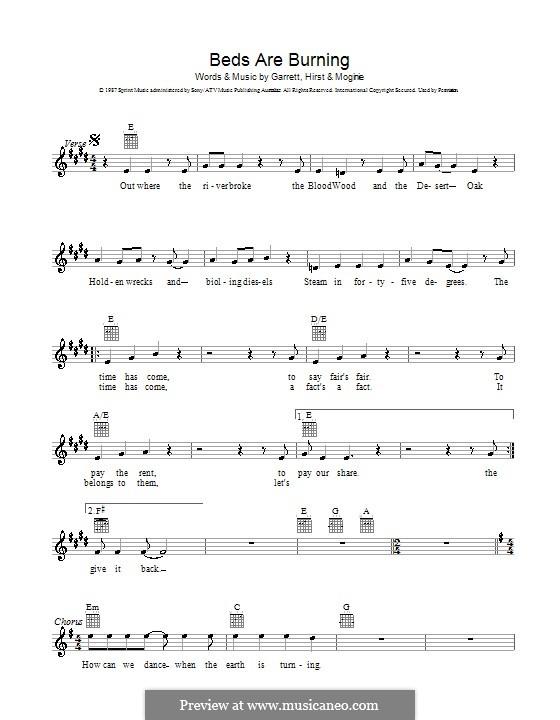 Beds Are Burning (Midnight Oil): Мелодия, текст и аккорды by Jim Moginie, Peter Garrett, Robert Hirst