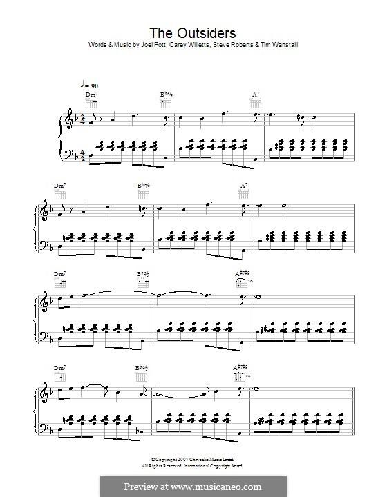 The Outsiders (Athlete): Для голоса и фортепиано (или гитары) by Carey Willetts, Joel Pott, Steven Roberts, Timothy Wanstall