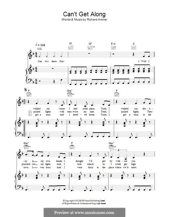 Can't Get Along (Without You): Для голоса и фортепиано или гитары (Hard-Fi) by Richard Archer
