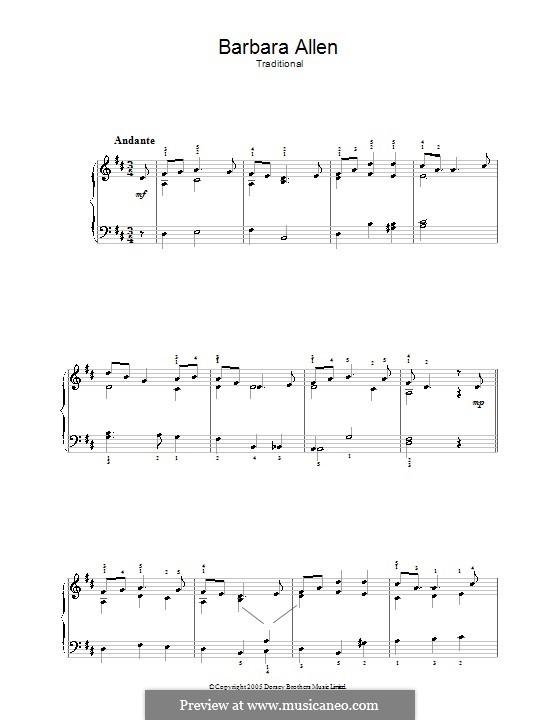 Barbara Allen: Для фортепиано (легкий уровень) by folklore