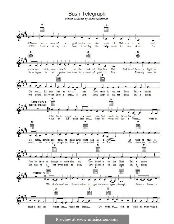 Bush Telegraph: Мелодия, текст и аккорды by John Lee Williamson