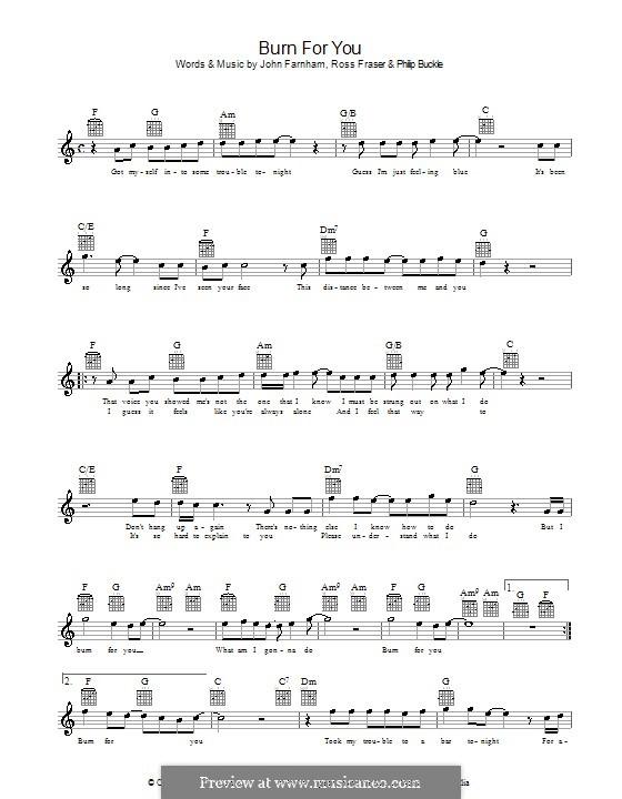 Burn for You (John Farnham): Мелодия, текст и аккорды by Philip Buckle, Ross Fraser