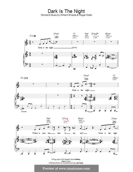Dark is the Night (Shakatak): Для голоса и фортепиано (или гитары) by Roger Odell, William Sharpe
