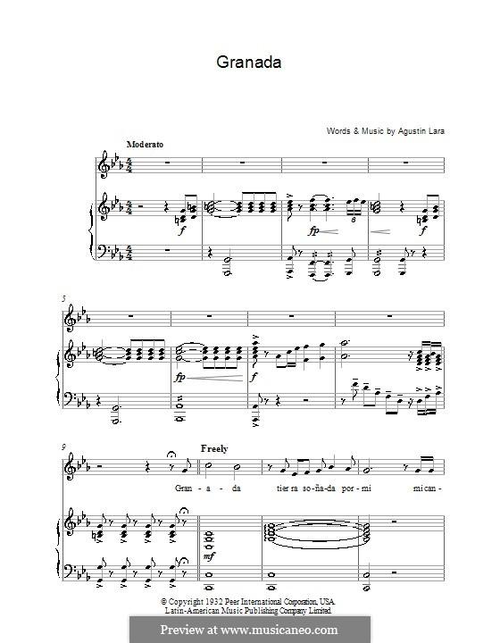 Granada: Для голоса и фортепиано by Agustin Lara
