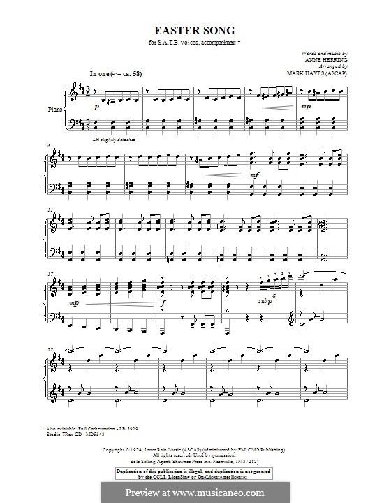 Easter Song: Для фортепиано by Anne Herring