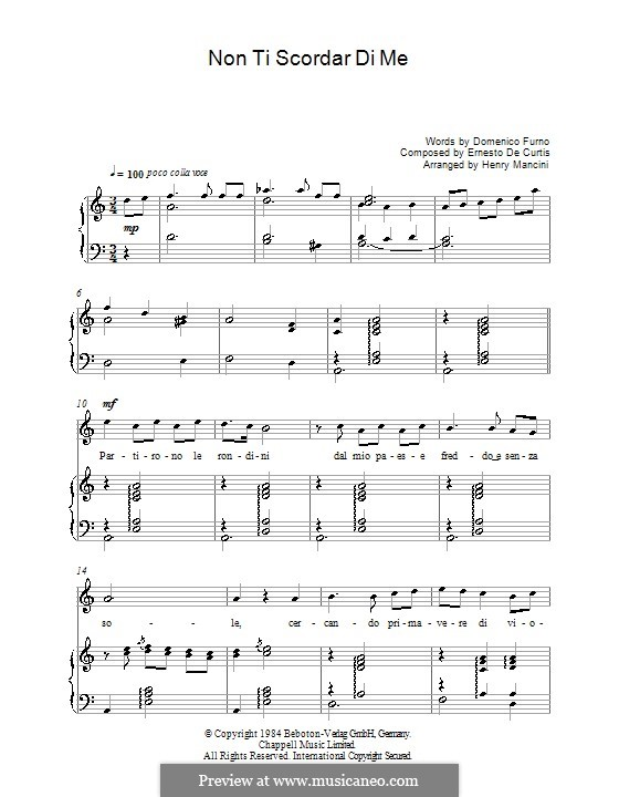 Non ti scordar di me: Для голоса и фортепиано by Эрнесто де Куртис