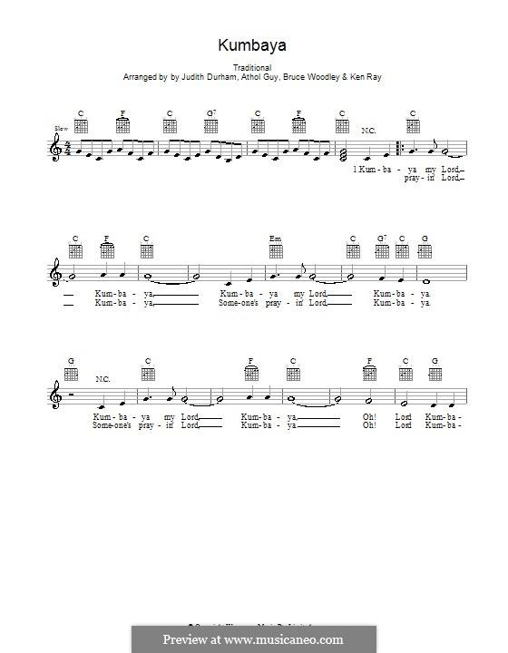 Kumbaya (Kum Ba Yah): Мелодия, текст и аккорды by folklore