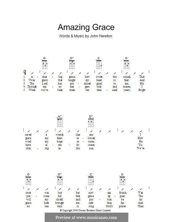 Amazing Grace (Printable Scores): Для укулеле с вариантом боя by folklore