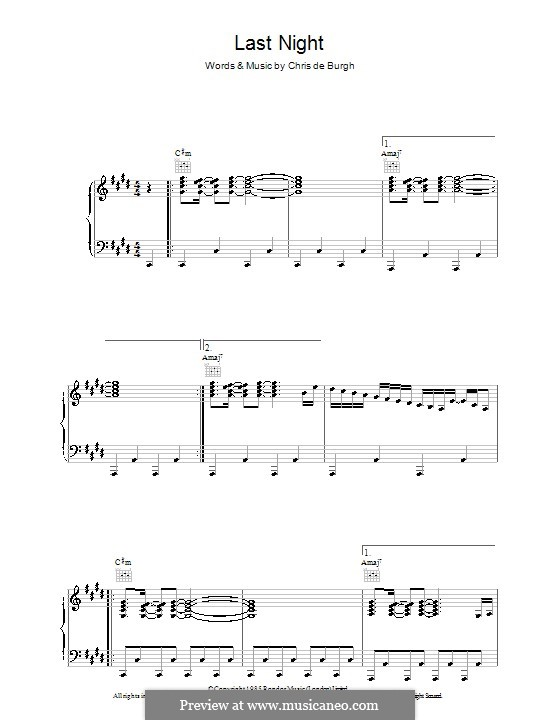 Last Night: Для голоса и фортепиано (или гитары) by Chris de Burgh