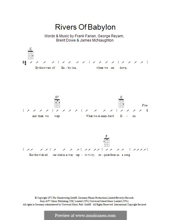 Rivers of Babylon: Для укулеле с вариантом боя by Brent Dowe, Frank Farian, George Reyam, James A. McNaughton
