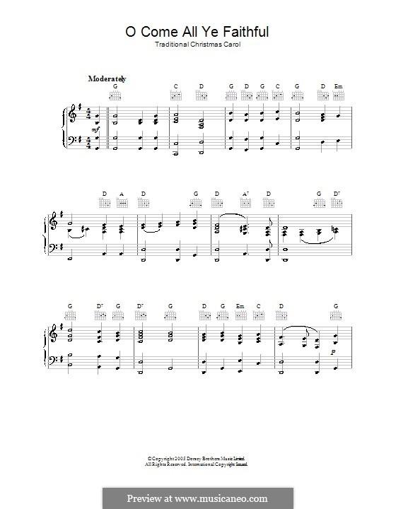 Придите к Младенцу, для фортепиано: С аккордами by Джон Фрэнсис Уэйд