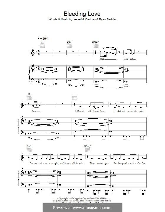 Bleeding Love (Leona Lewis): Для голоса и фортепиано (или гитары) by Jesse McCartney, Ryan B Tedder