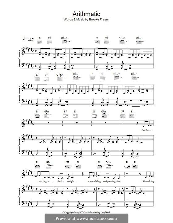 Arithmetic: Для голоса и фортепиано (или гитары) by Brooke Fraser