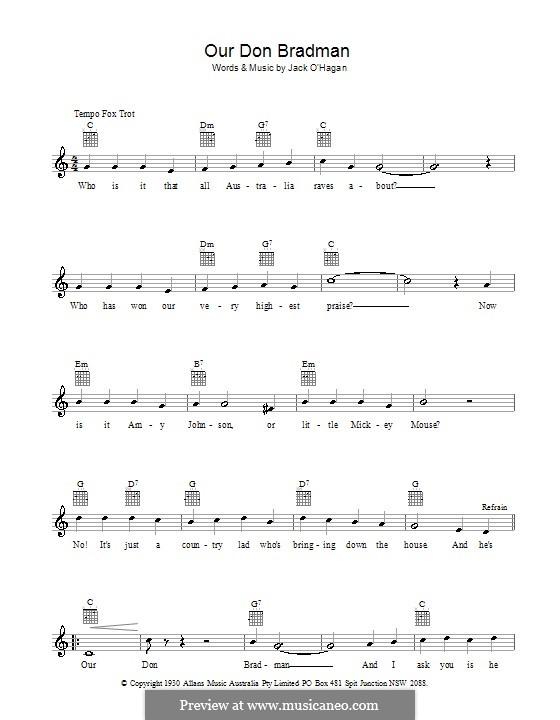 Our Don Bradman: Мелодия, текст и аккорды by Jack O'Hagan