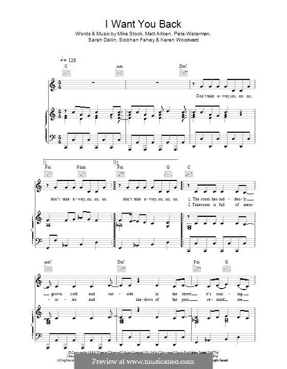 I Want You Back (Bananarama): Для голоса и фортепиано (или гитары) by Keren Woodward, Matt Aitken, Mike Stock, Pete Waterman, Sarah Dallin, Siobhan Fahey