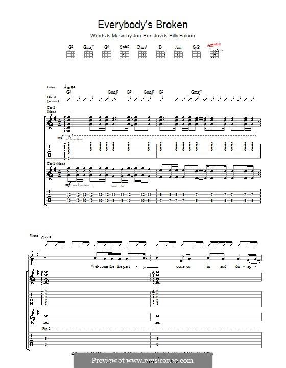 Everybody's Broken (Bon Jovi): Гитарная табулатура by Billy Falcon, Jon Bon Jovi