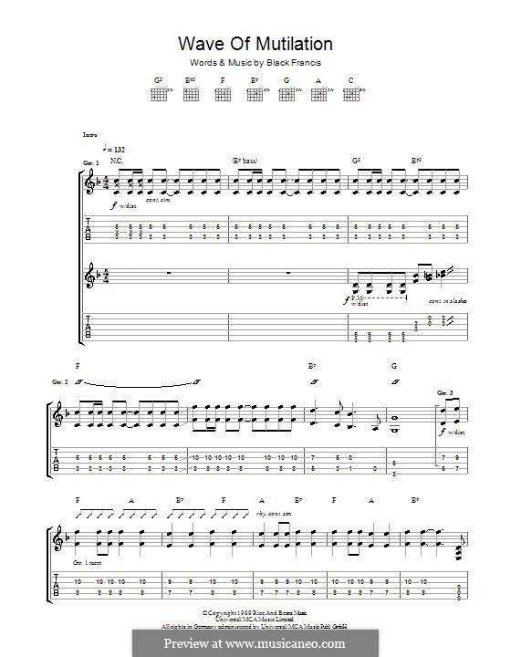 Wave of Mutilation (The Pixies): Гитарная табулатура by Black Francis