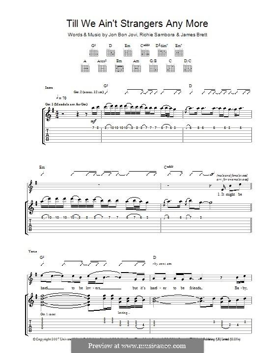 Till We Ain't Strangers Anymore (Bon Jovi): Гитарная табулатура by Brett James, Jon Bon Jovi, Richie Sambora